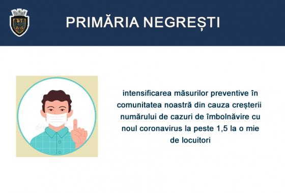 Intensificarea măsurilor preventive în comunitatea noastră din cauza creșterii numărului de cazuri de îmbolnăvire cu noul coronavirus la peste 1,5 la mia de locuitori